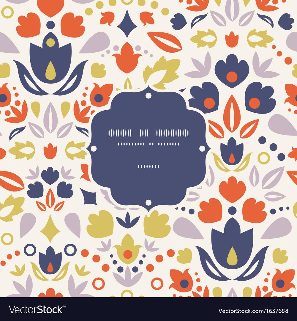Ornamental folk tulips frame seamless pattern vector | Price: 1 Credit (USD $1)