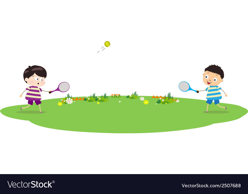 Two boys playing tennis vector | Price: 1 Credit (USD $1)