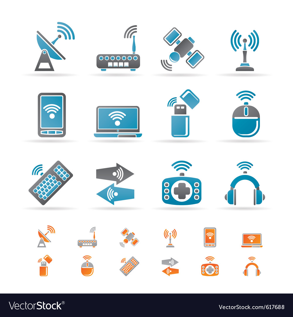 Wireless and communication technology icons vector | Price: 1 Credit (USD $1)