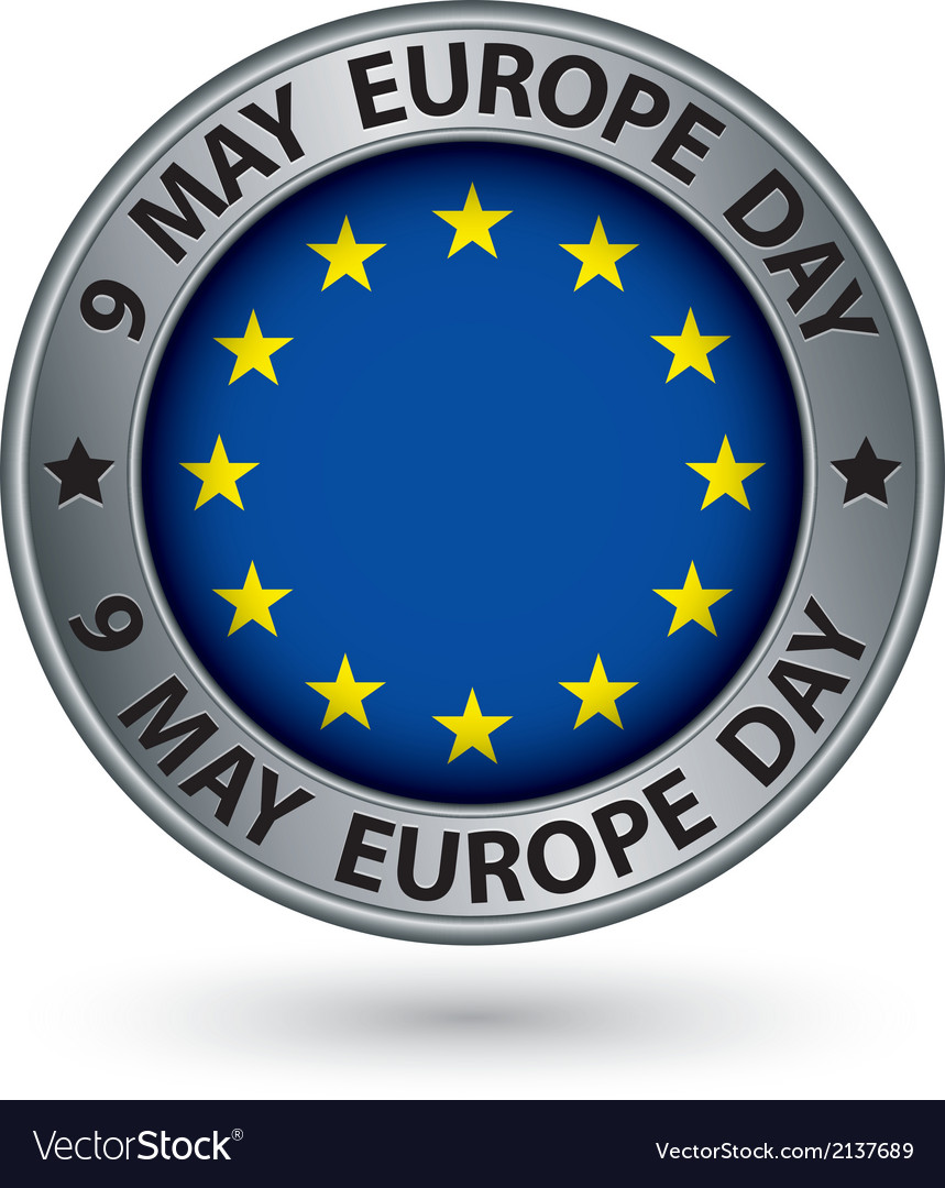 9 may europe day silver label with flag vector | Price: 1 Credit (USD $1)