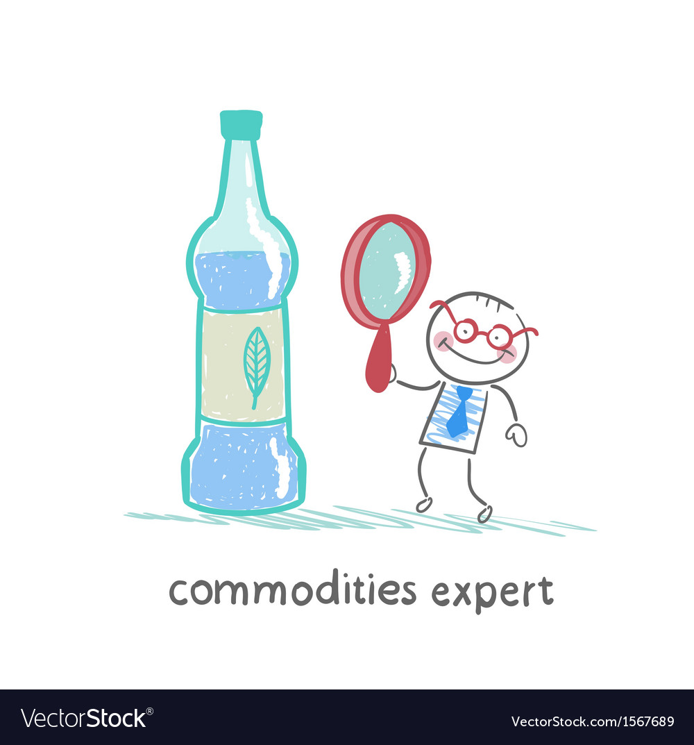 Commodities expert with a magnifying glass looking vector | Price: 1 Credit (USD $1)