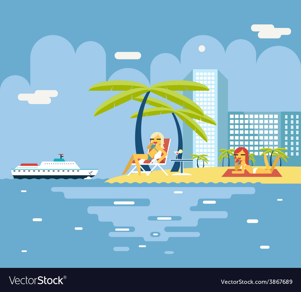 Gigls sunny beach planning summer vacation tourism vector | Price: 1 Credit (USD $1)