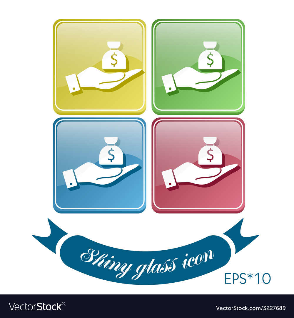 Hand holding a bag of money vector | Price: 1 Credit (USD $1)