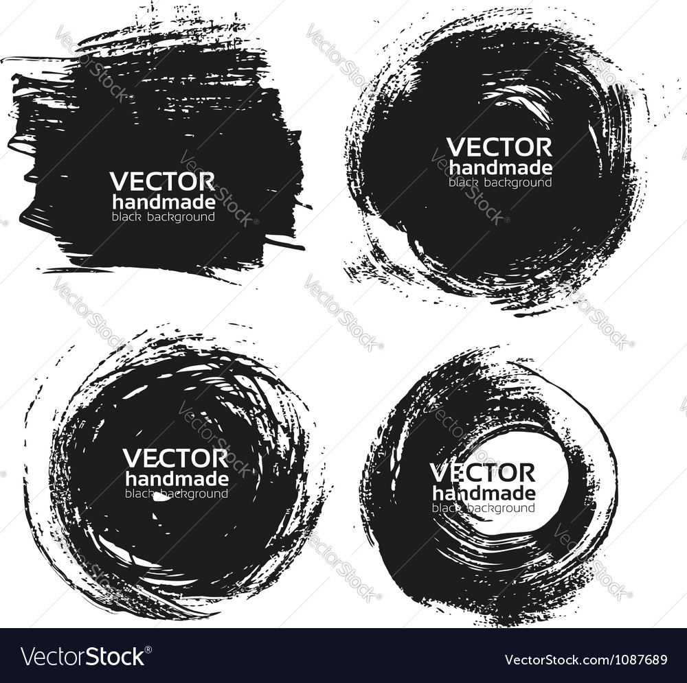 Handmade black strokes- backgrouns painted ink vector