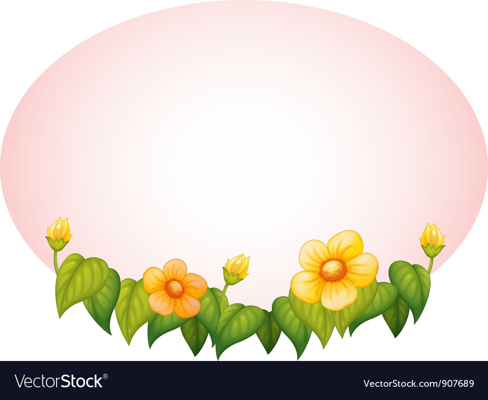 Oval with flowers border vector | Price: 1 Credit (USD $1)