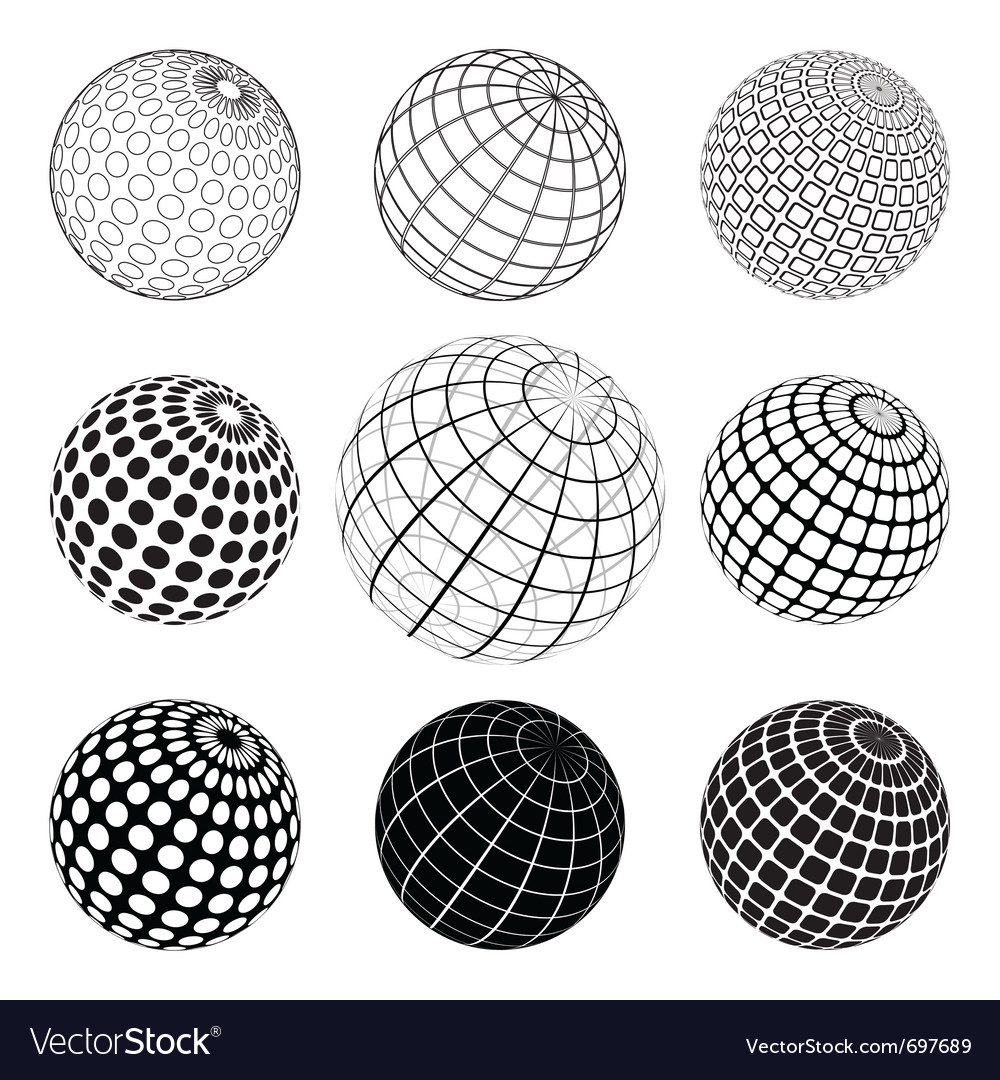 Set of black and white vektor globe vector | Price: 1 Credit (USD $1)