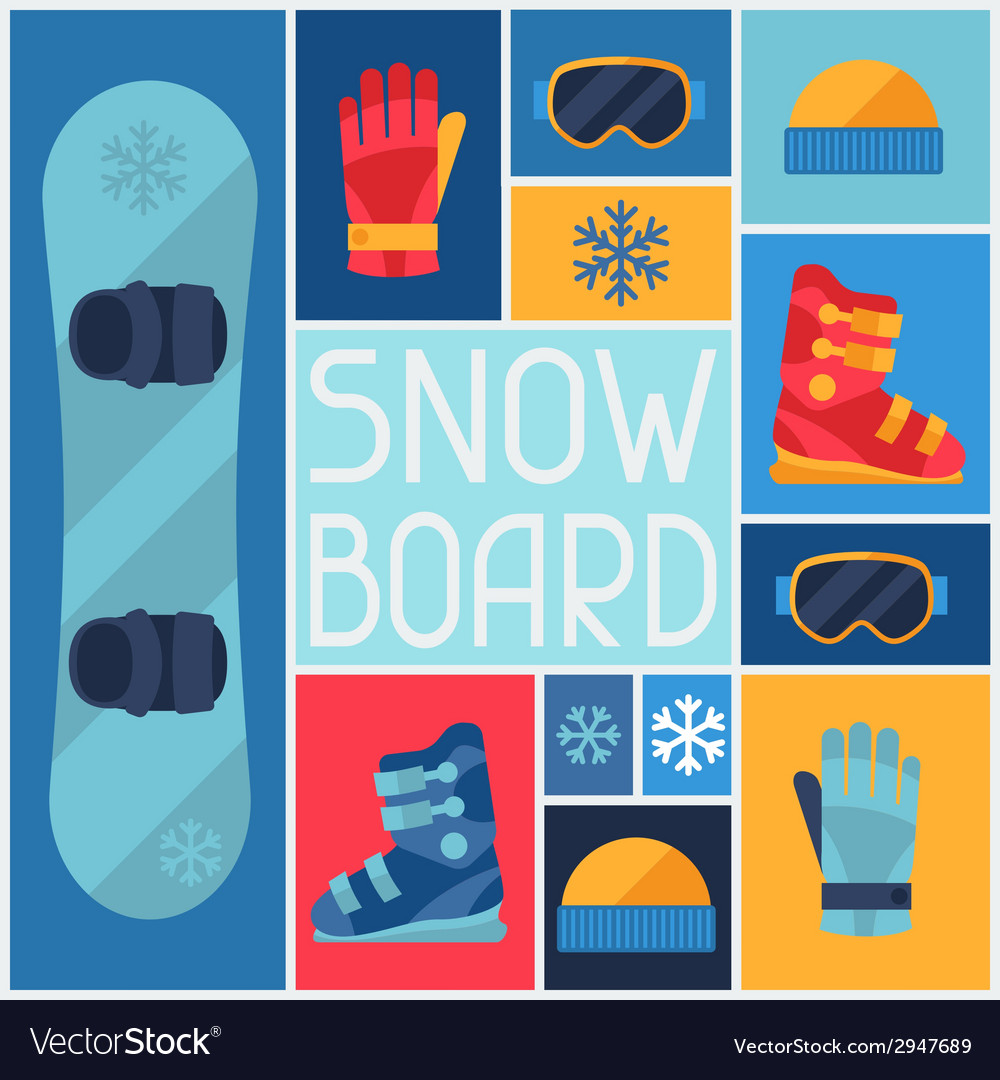 Sports background with snowboard equipment flat vector | Price: 1 Credit (USD $1)