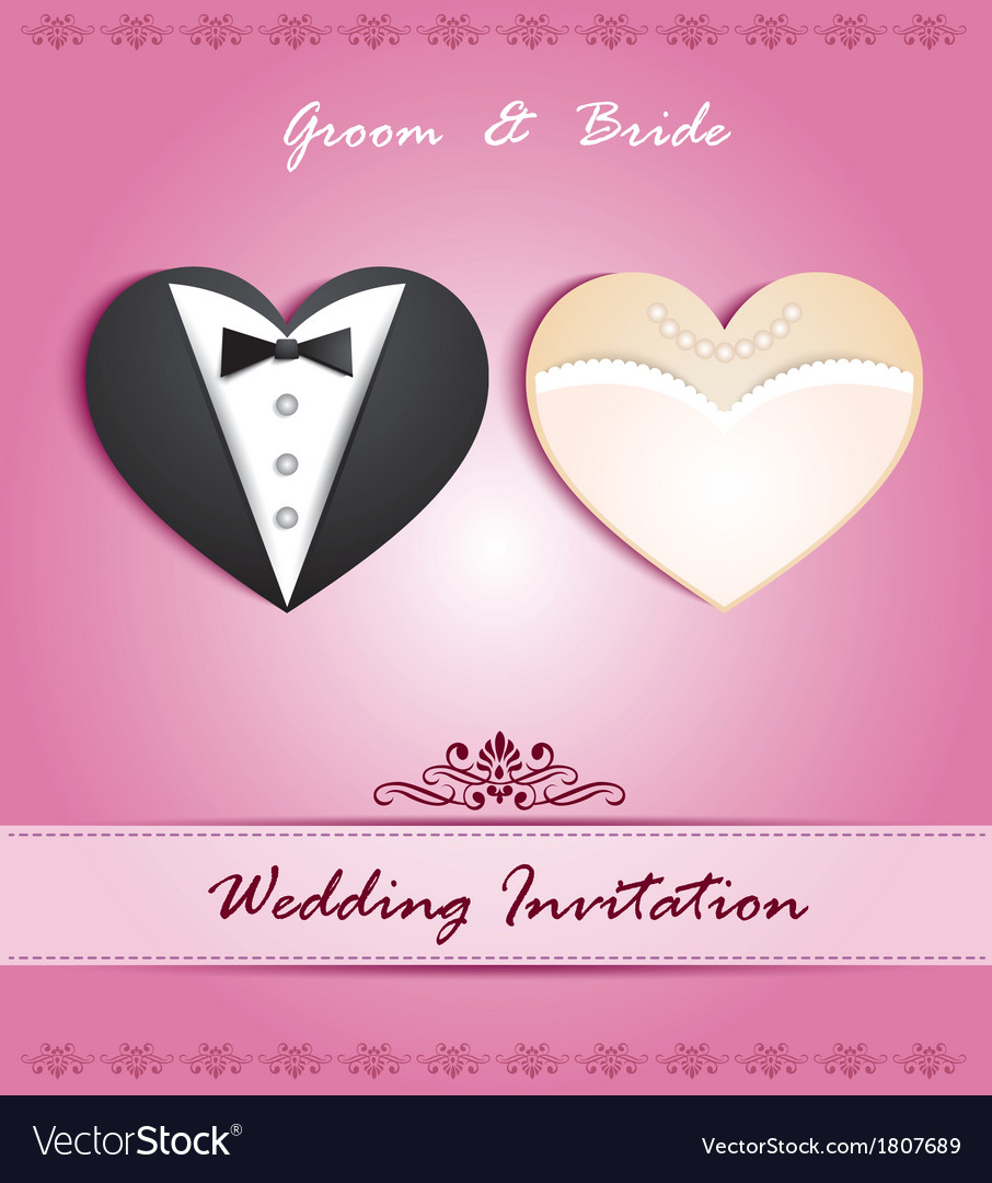 Wedding card in form heart with tuxedo and dress vector | Price: 1 Credit (USD $1)