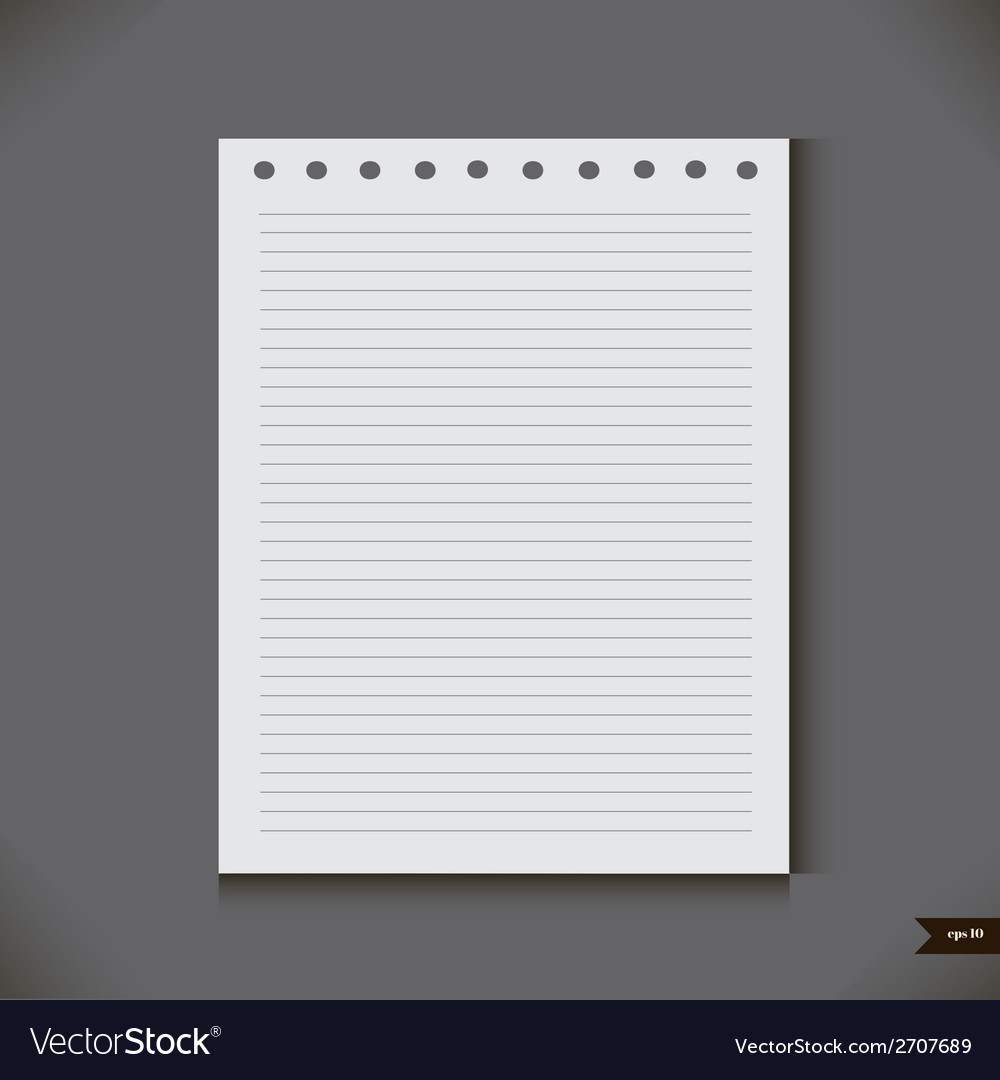 White notebook with lines vector | Price: 1 Credit (USD $1)