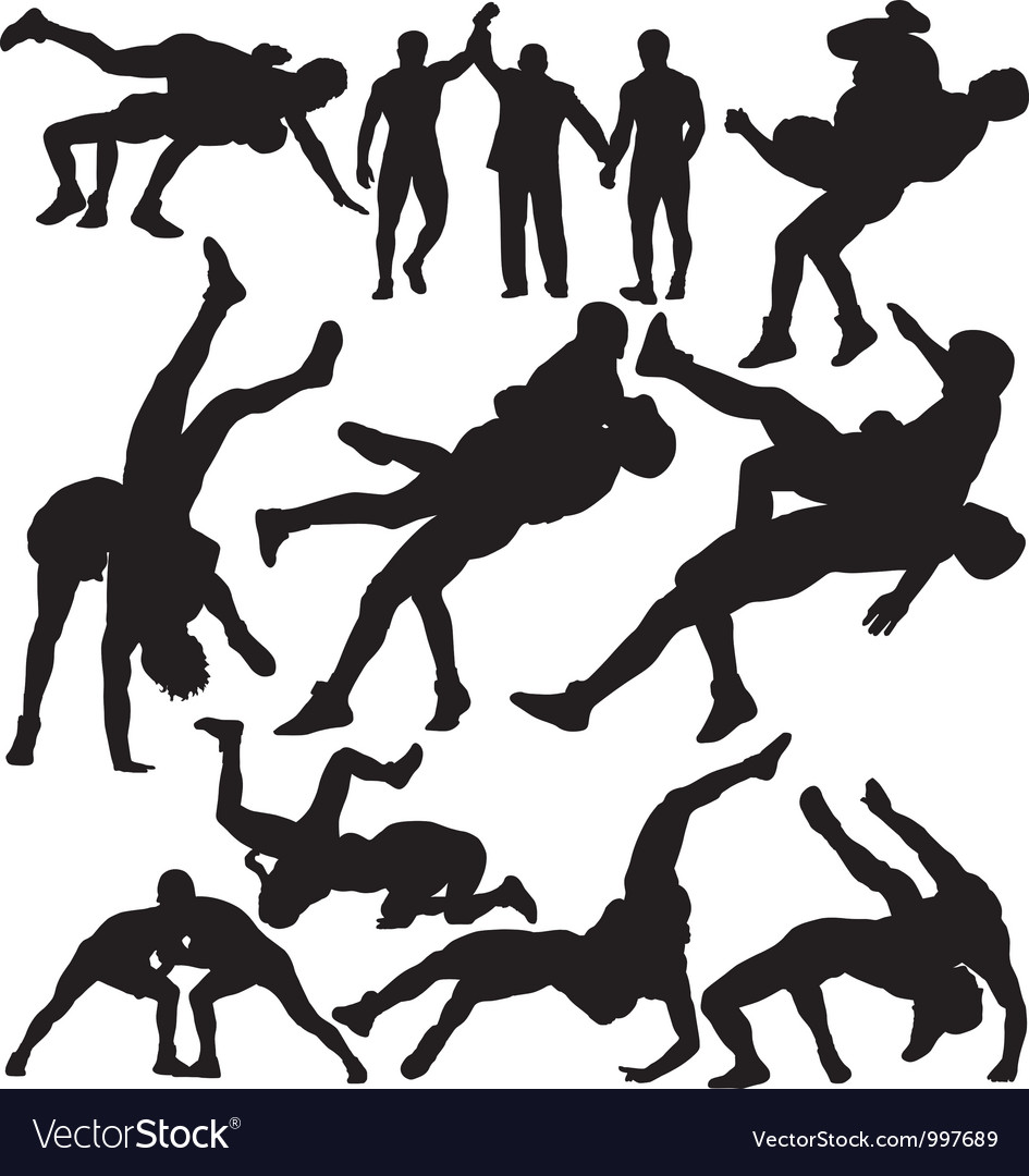 Wrestling silhouettes vector | Price: 1 Credit (USD $1)