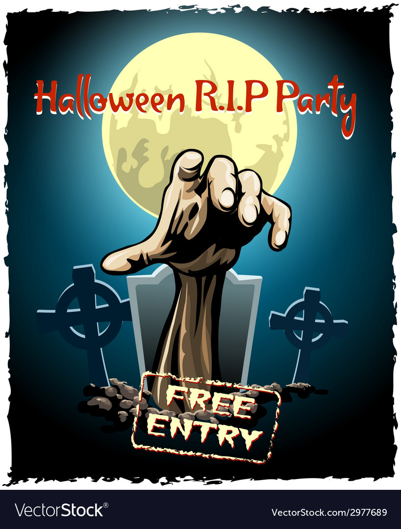 Zombie party halloween poster vector | Price: 1 Credit (USD $1)