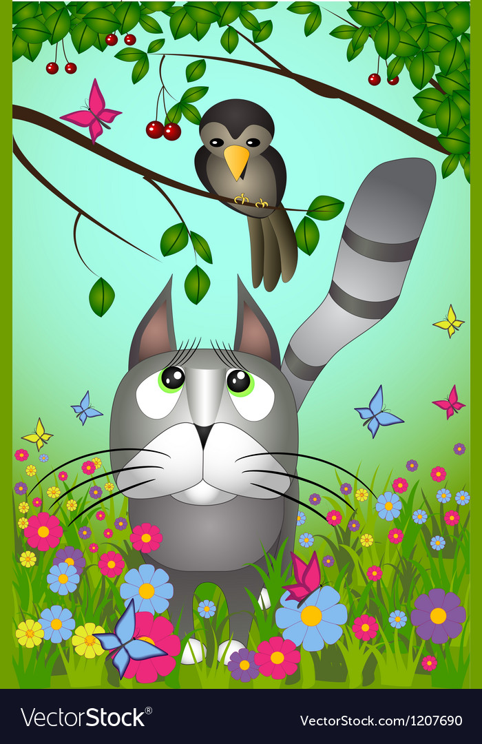 A cat looking to the bird vector | Price: 1 Credit (USD $1)