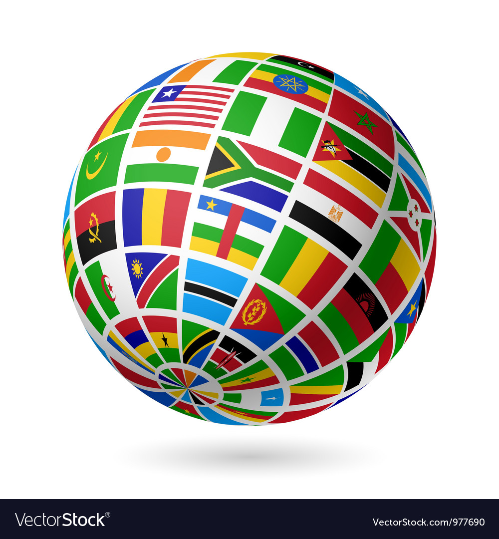 African flags globe vector | Price: 1 Credit (USD $1)