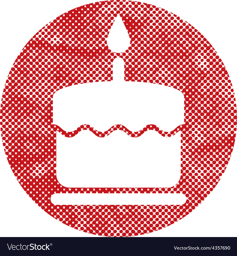 Cake icon with single candle with pixel print vector | Price: 1 Credit (USD $1)
