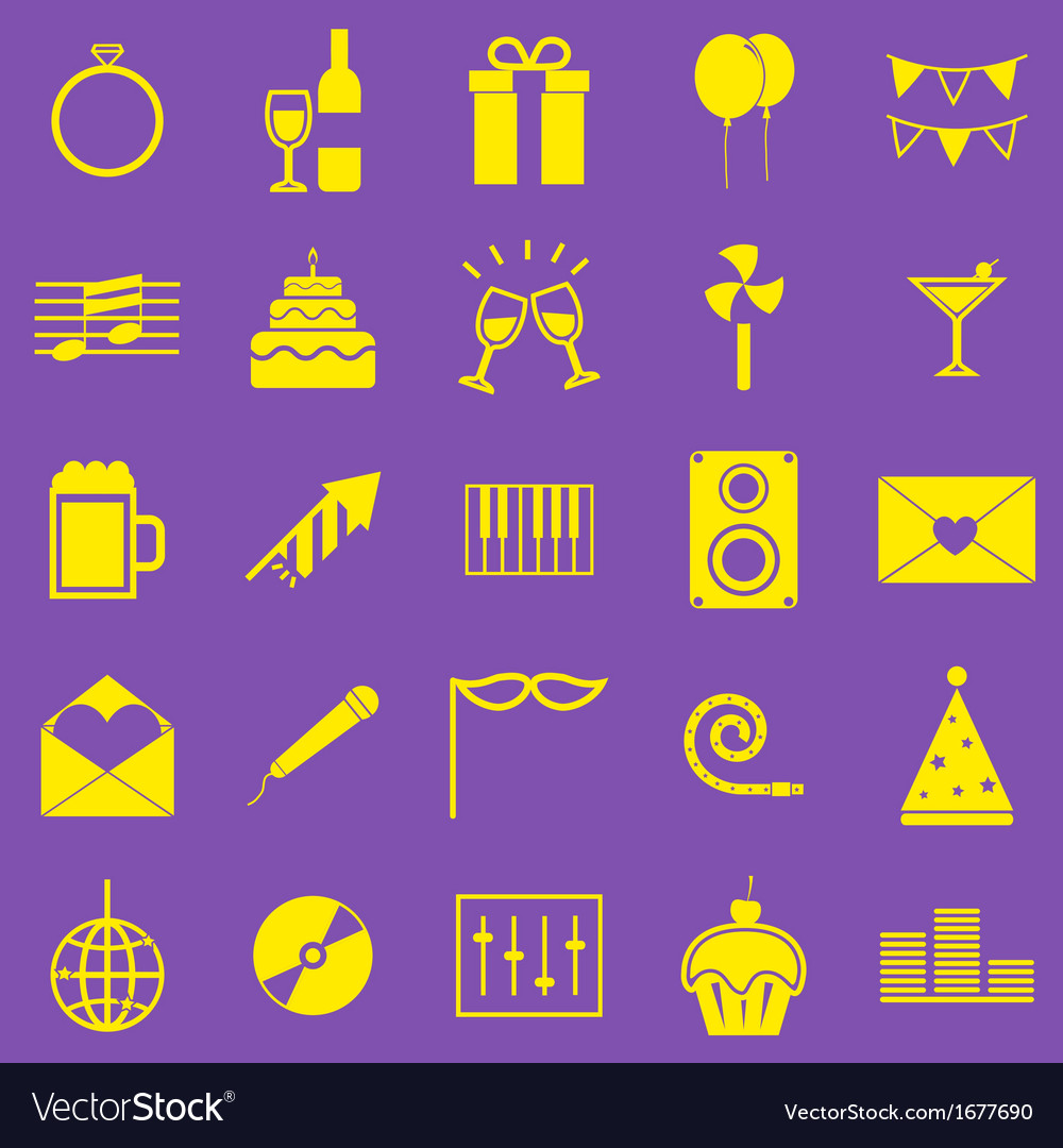 Celebration yellow icons on violet background vector | Price: 1 Credit (USD $1)