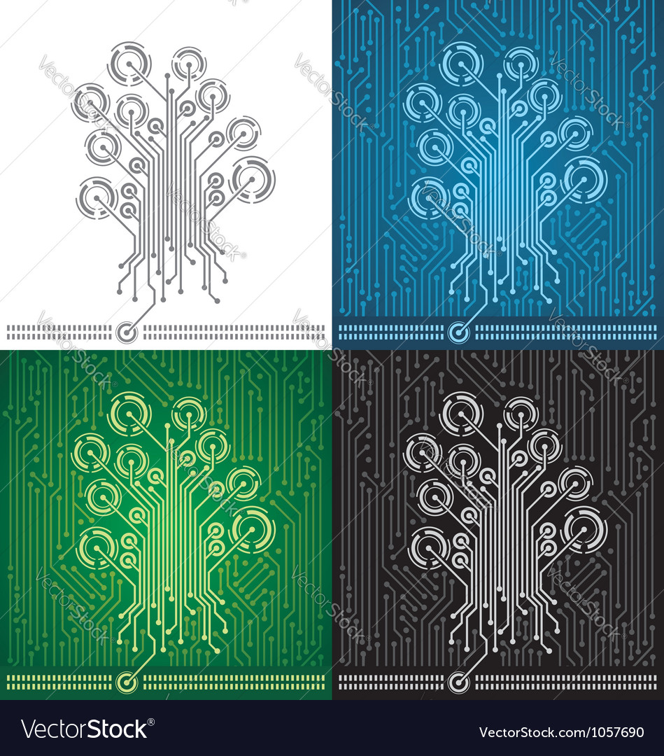 Circuit board tree background vector | Price: 1 Credit (USD $1)
