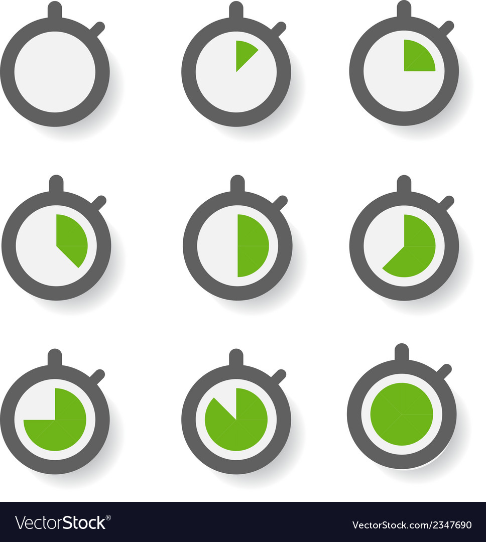 Clock icons collection design elements vector | Price: 1 Credit (USD $1)