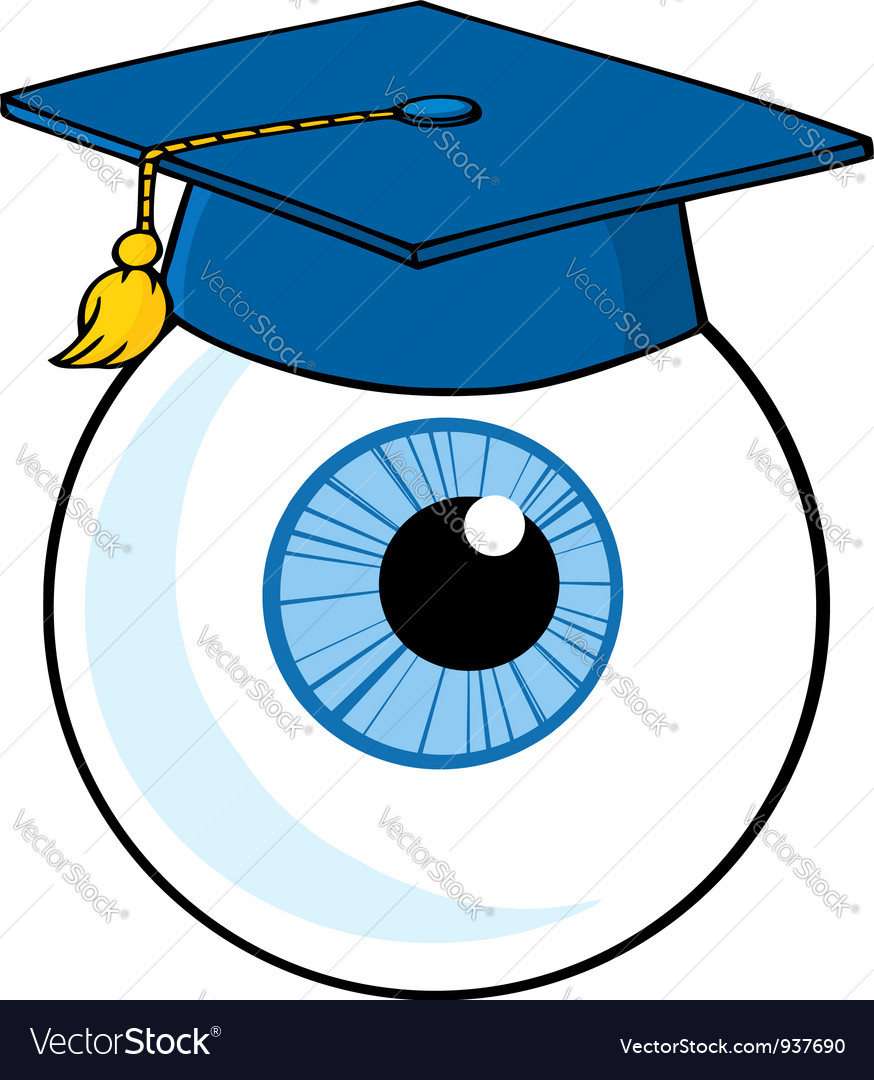 Eye ball cartoon character with graduate cap vector | Price: 3 Credit (USD $3)