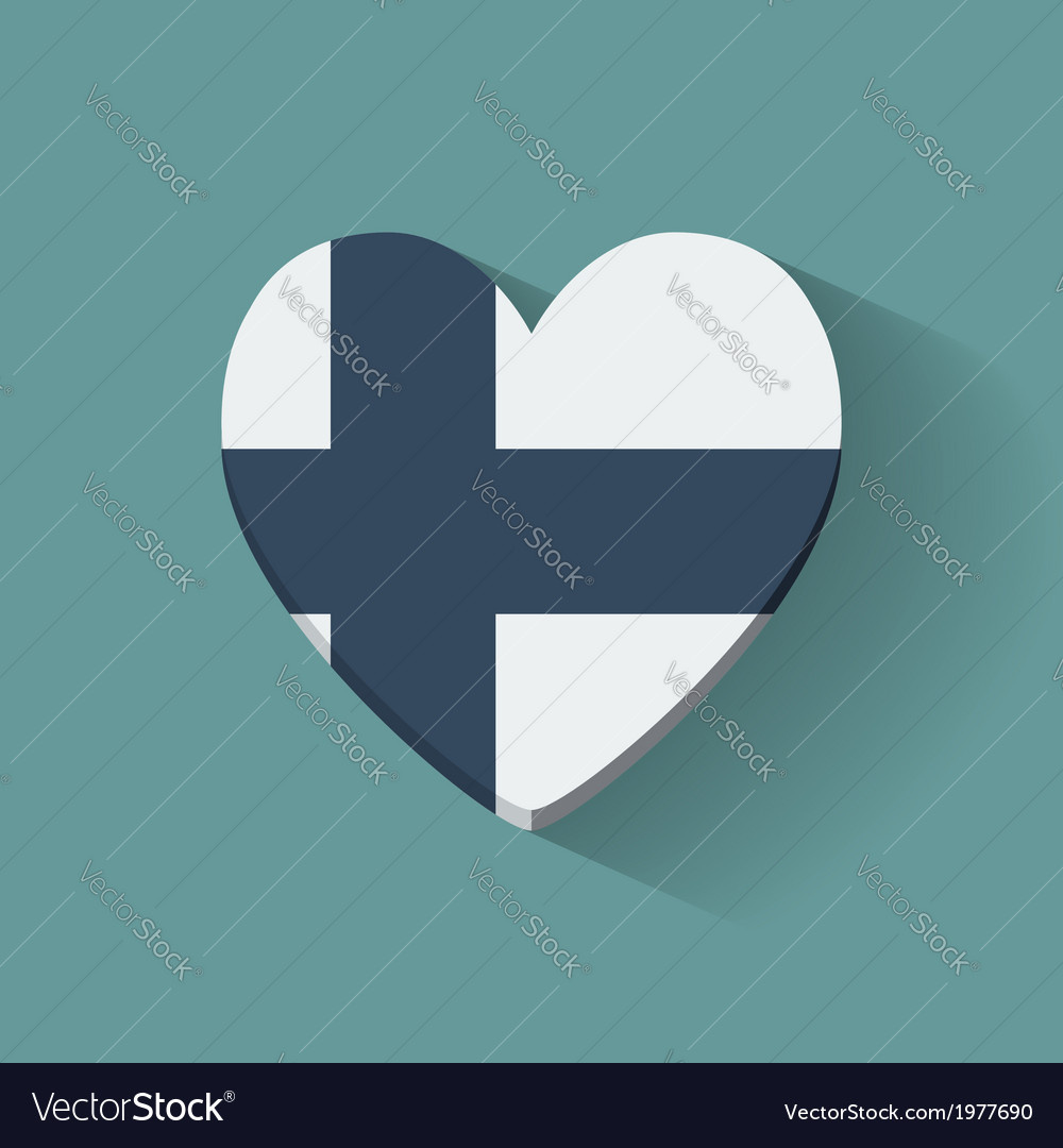 Heart-shaped icon with flag of finland vector   Price: 1 Credit (USD $1)