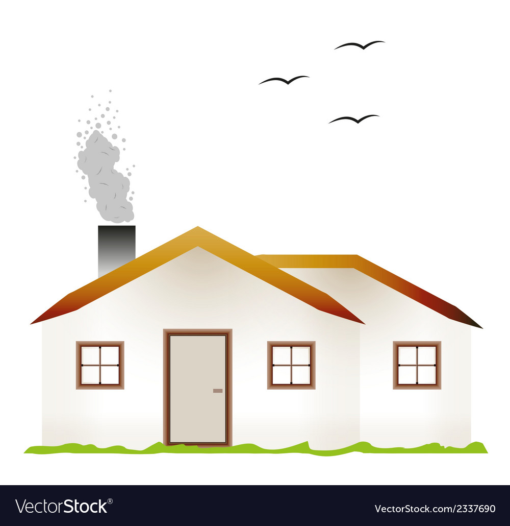 House and smoking chimney vector | Price: 1 Credit (USD $1)