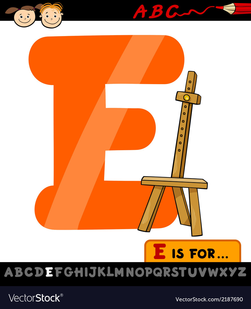 Letter e with easel cartoon vector | Price: 1 Credit (USD $1)
