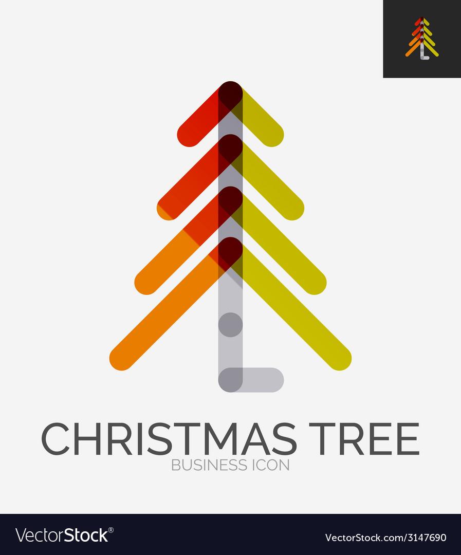 Minimal line design logo christmas tree icon vector | Price: 1 Credit (USD $1)