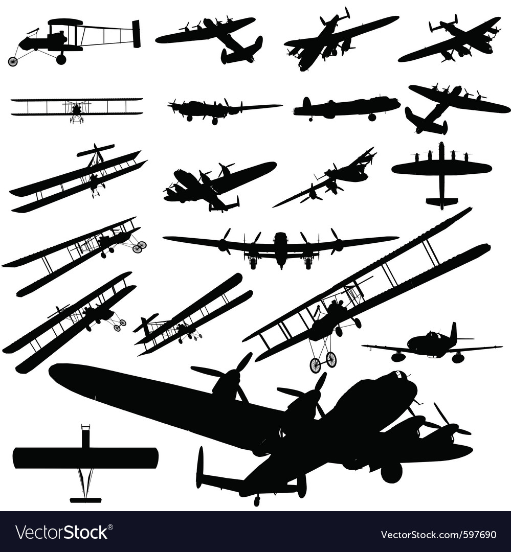 Old plane silhouette vector | Price: 1 Credit (USD $1)