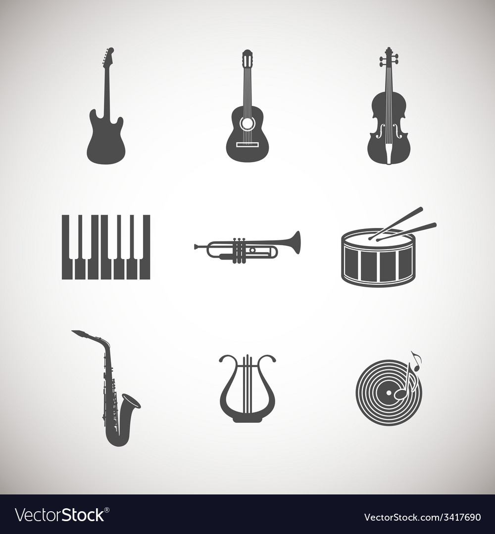 Set of musical instrument icons vector | Price: 1 Credit (USD $1)