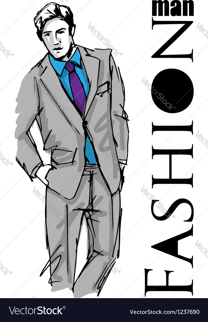 Sketch fashion handsome business man vector | Price: 1 Credit (USD $1)