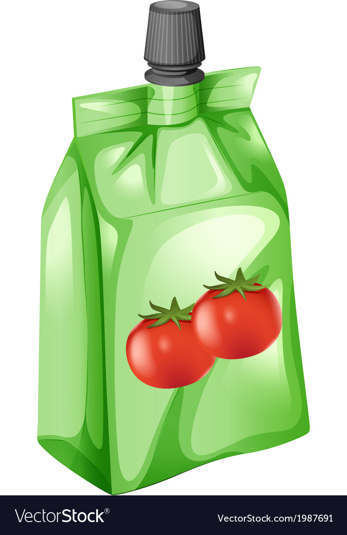 A tomato juice in a drinking pouch vector | Price: 1 Credit (USD $1)