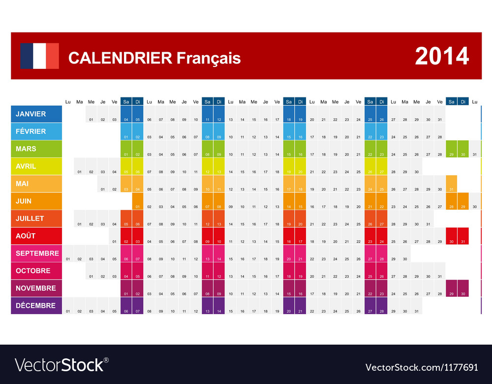 Calendar 2014 french type 14 vector | Price: 1 Credit (USD $1)