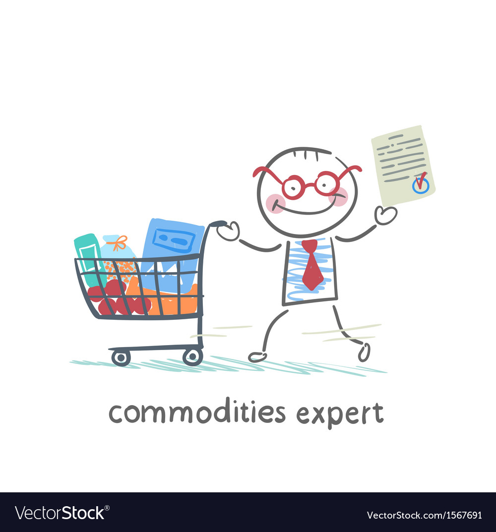 Commodities expert with the document stands near vector | Price: 1 Credit (USD $1)