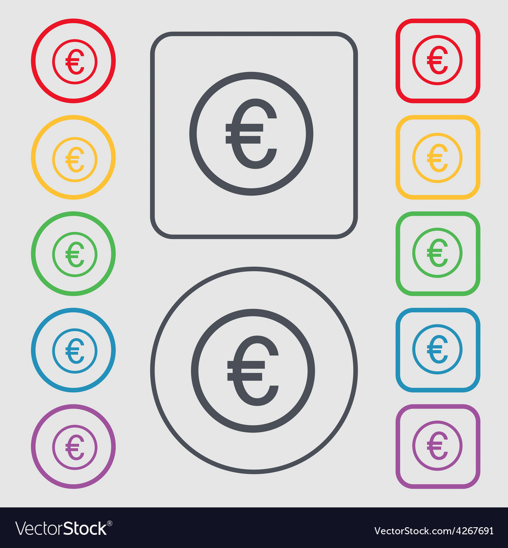 Euro icon sign symbol on the round and square vector | Price: 1 Credit (USD $1)