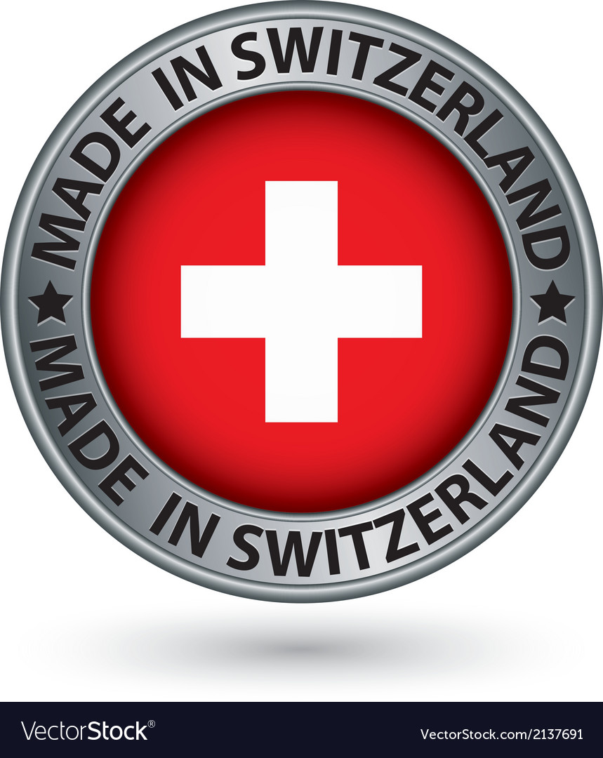 Made in switzerland silver label with flag vector | Price: 1 Credit (USD $1)