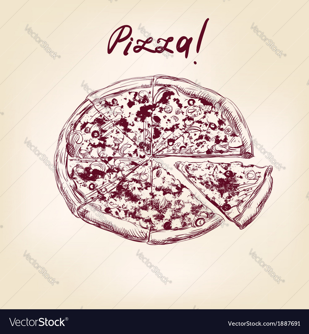 Pizza hand drawn llustration realistic sketch vector | Price: 1 Credit (USD $1)