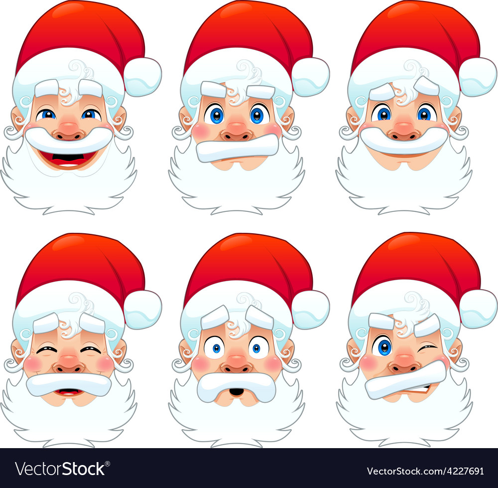 Santa claus multiple expressions vector | Price: 1 Credit (USD $1)