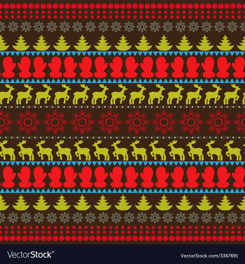 Traditional christmas seamless horizontal pattern vector | Price: 1 Credit (USD $1)