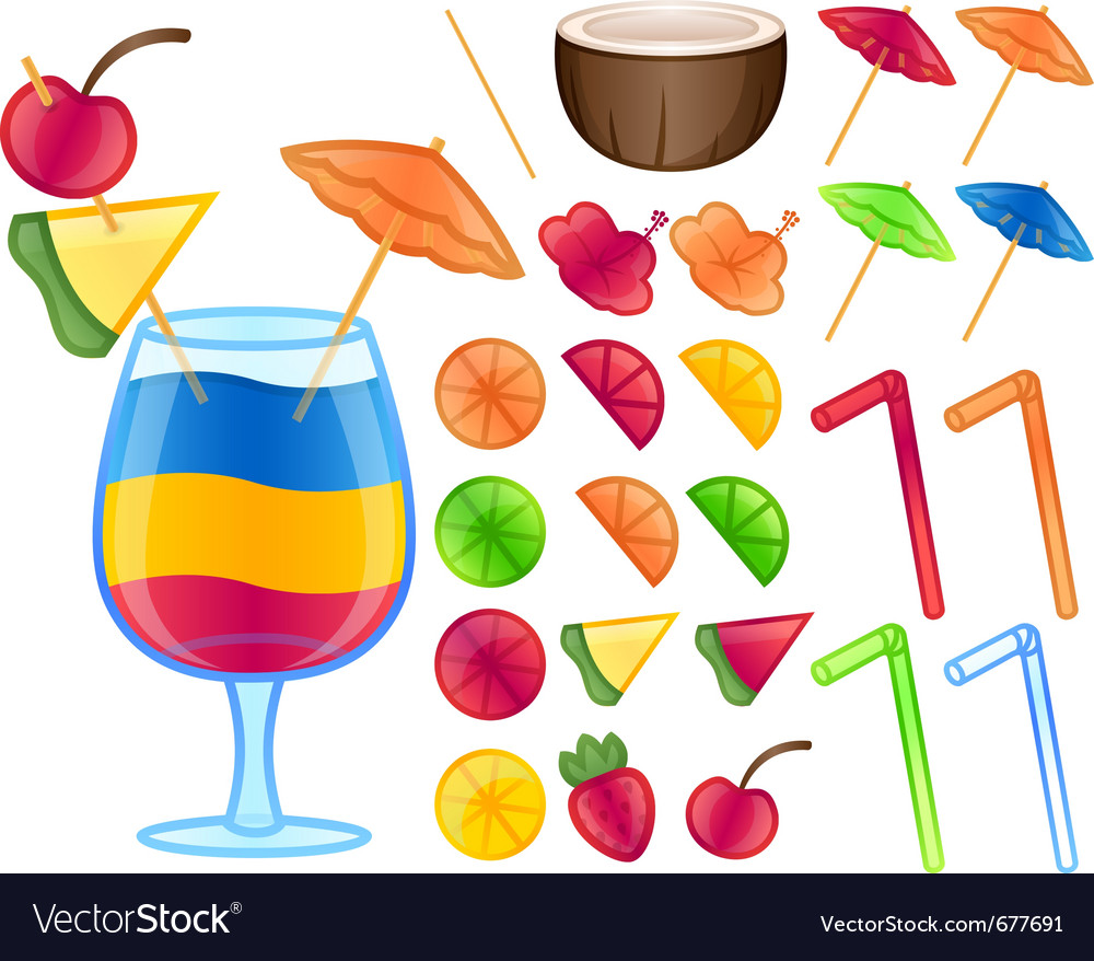 Tropical drink items vector | Price: 3 Credit (USD $3)