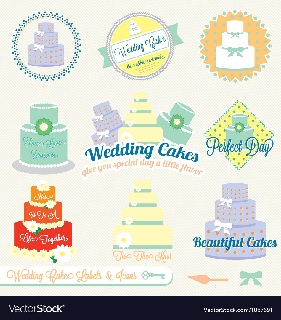 Wedding cake labels vector | Price: 1 Credit (USD $1)