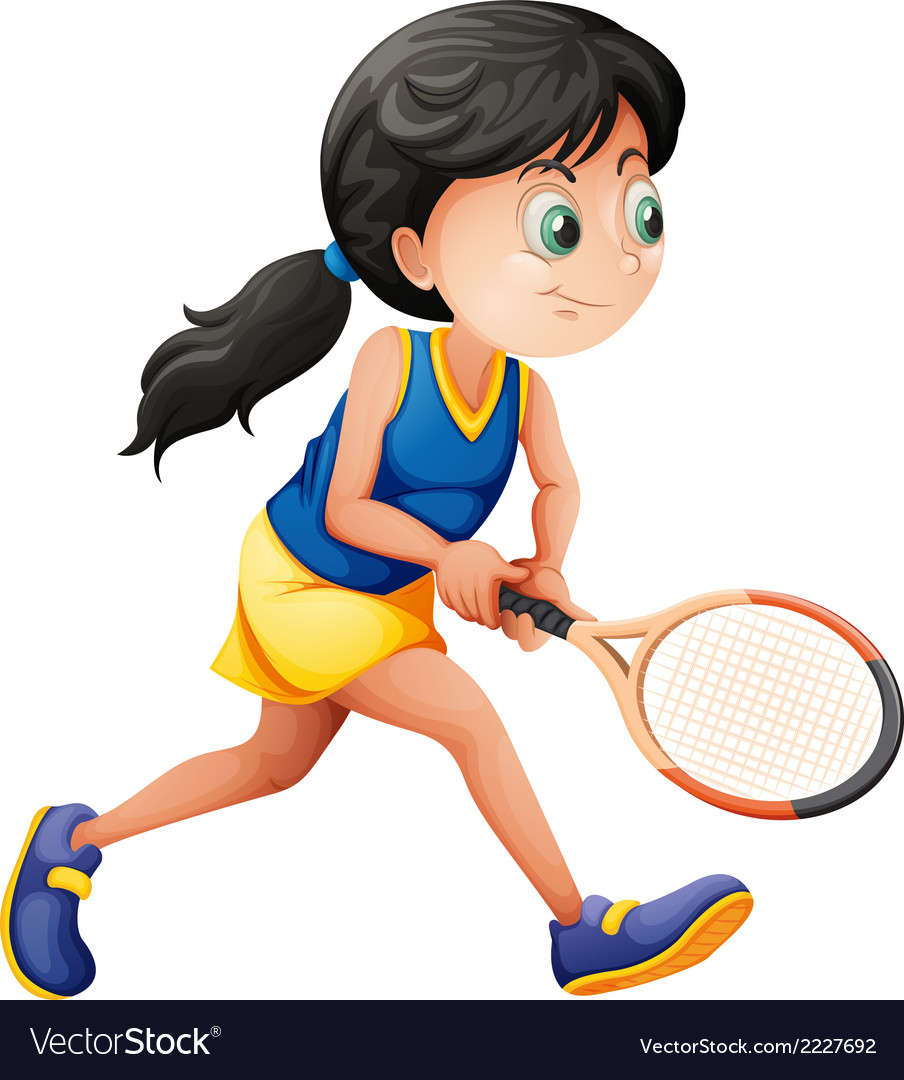 A young female player playing tennis vector | Price: 1 Credit (USD $1)