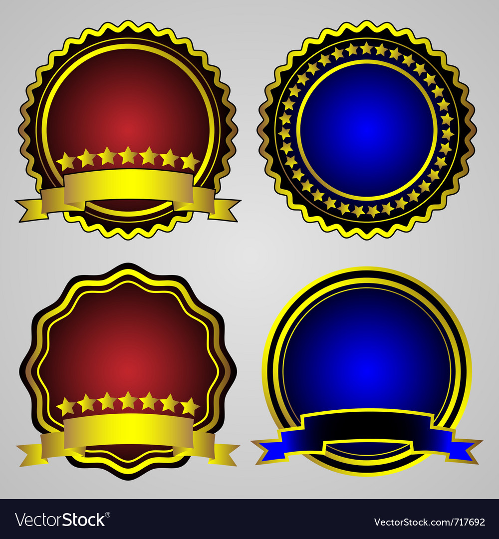 Four gold-framed labels set vector | Price: 1 Credit (USD $1)