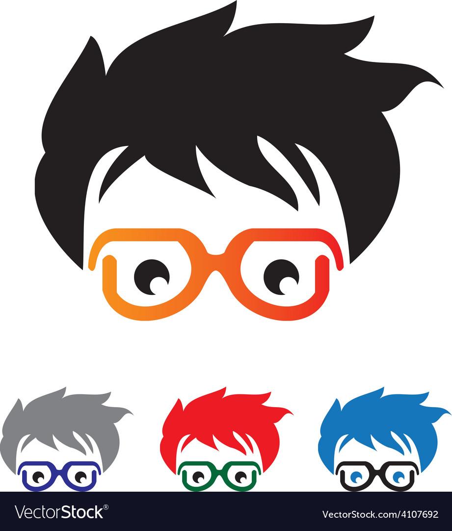 Geek head logo vector | Price: 1 Credit (USD $1)