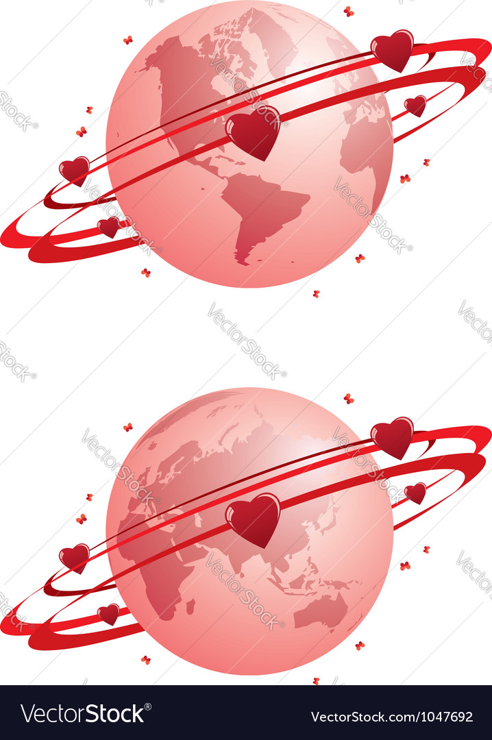 Globe and hearts vector | Price: 1 Credit (USD $1)