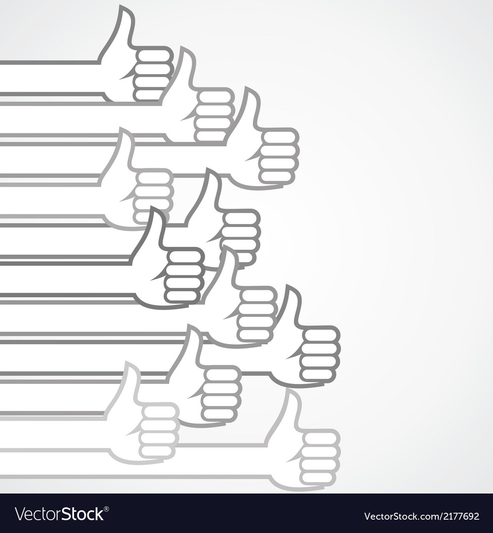 Grey like or thumbs-up sign background vector   Price: 1 Credit (USD $1)