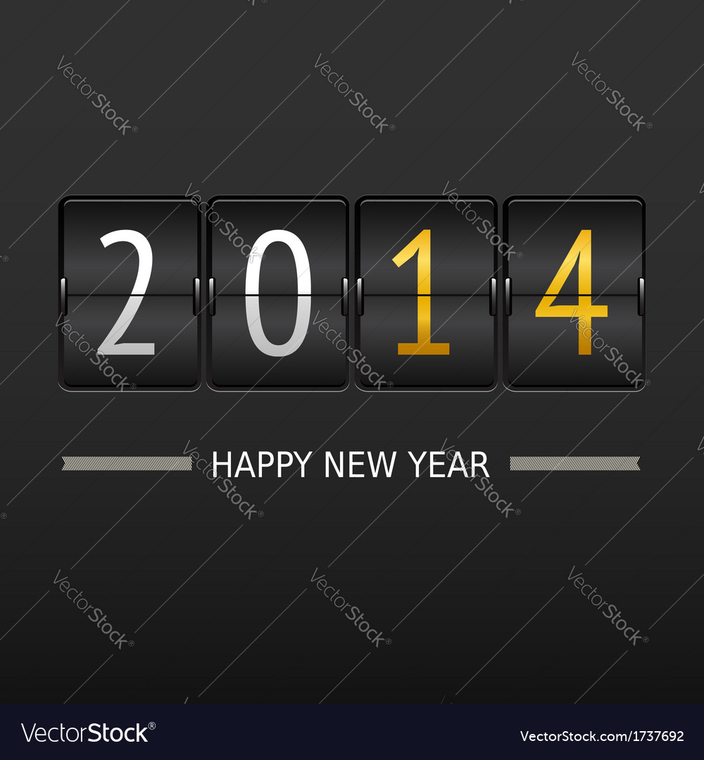 Happy new year 2014 card mechanical timetable vector | Price: 1 Credit (USD $1)