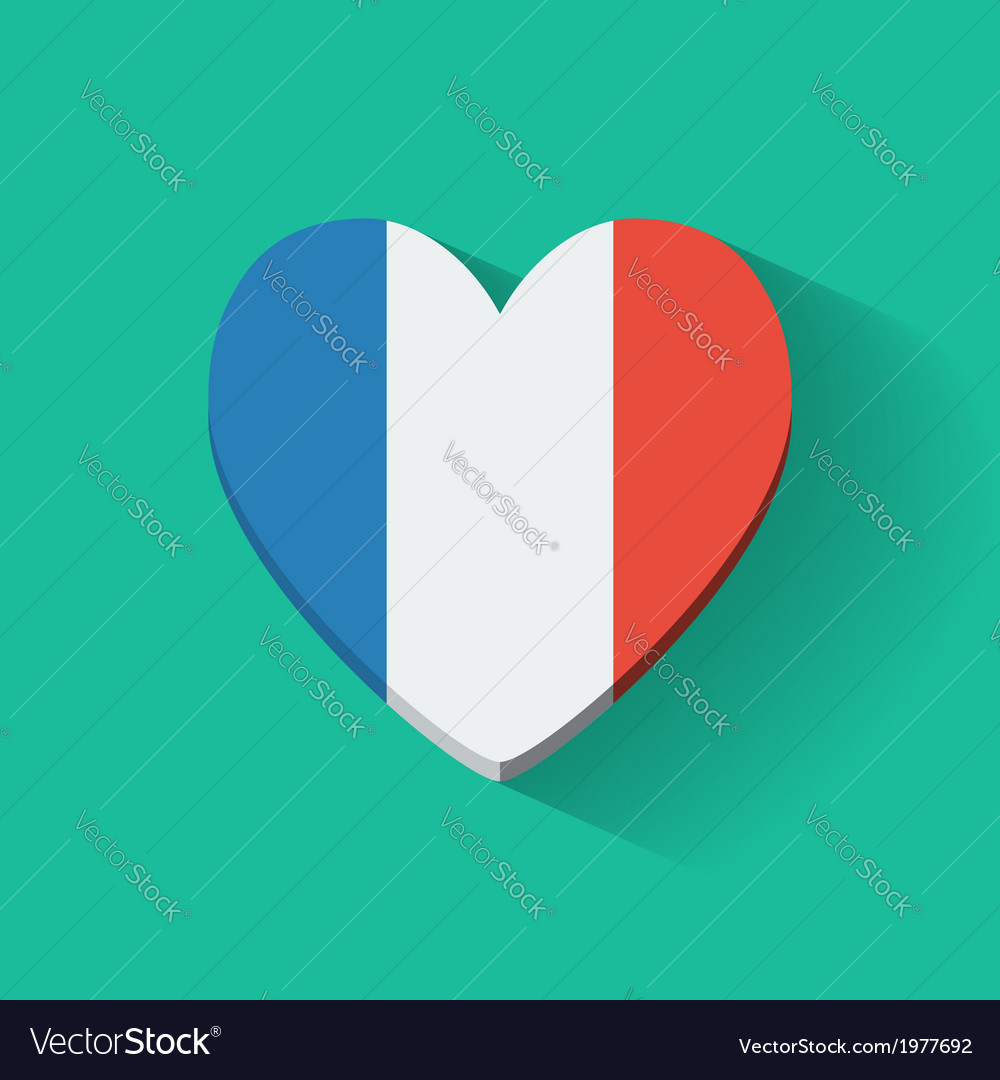 Heart-shaped icon with flag of france vector | Price: 1 Credit (USD $1)