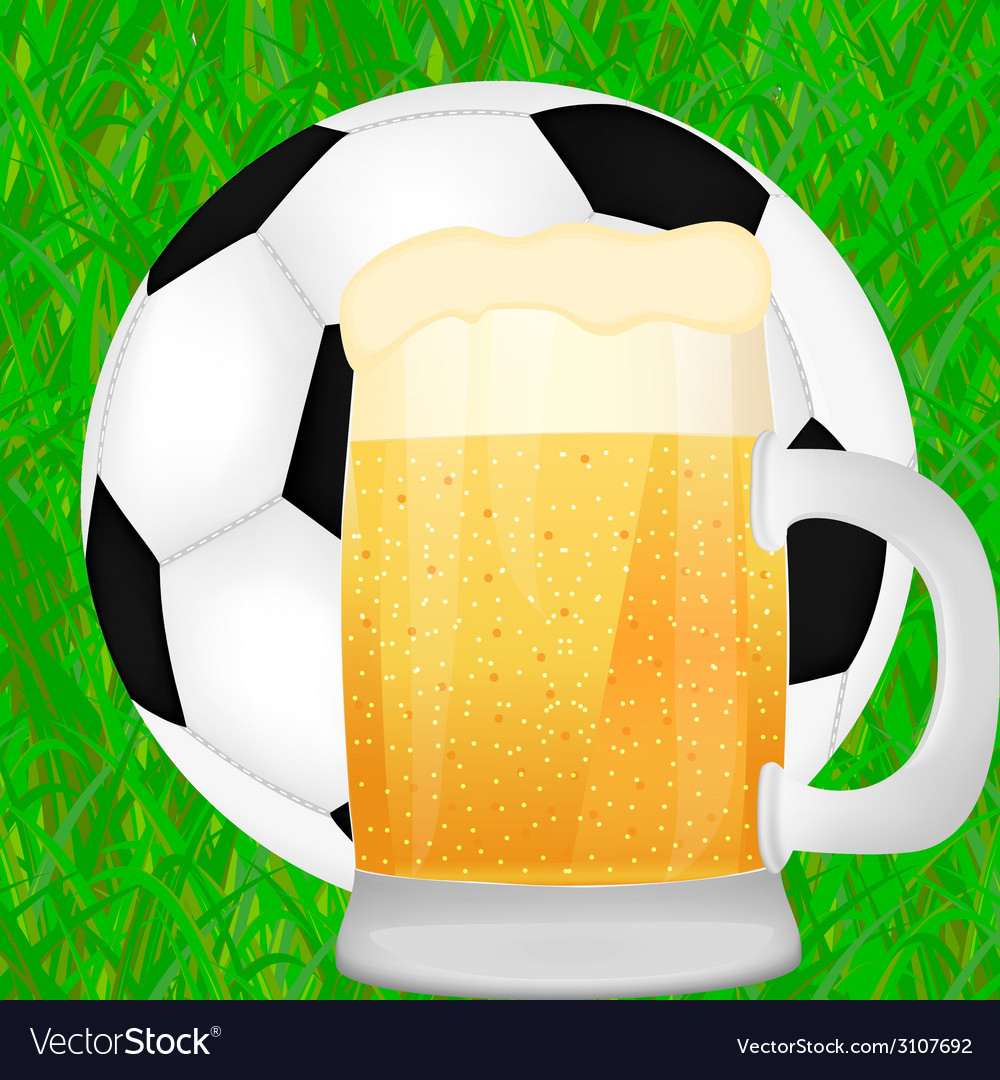 Mug of beer and a soccer ball vector | Price: 1 Credit (USD $1)