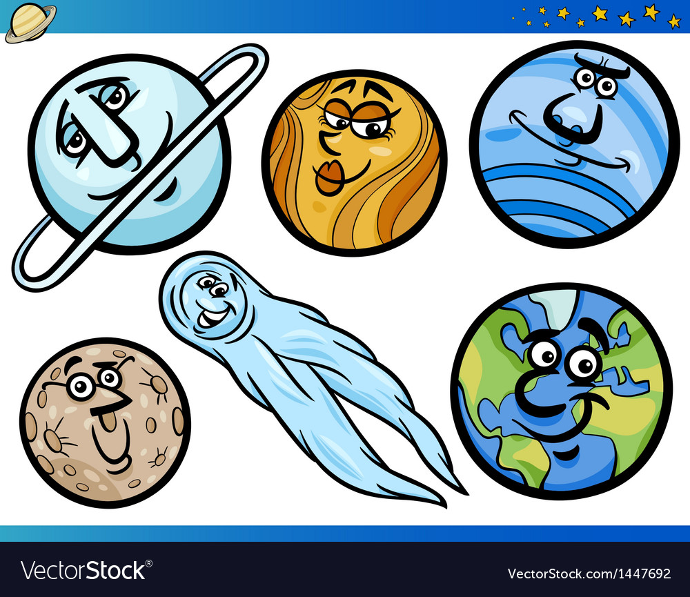 Planets and orbs cartoon characters set vector | Price: 3 Credit (USD $3)