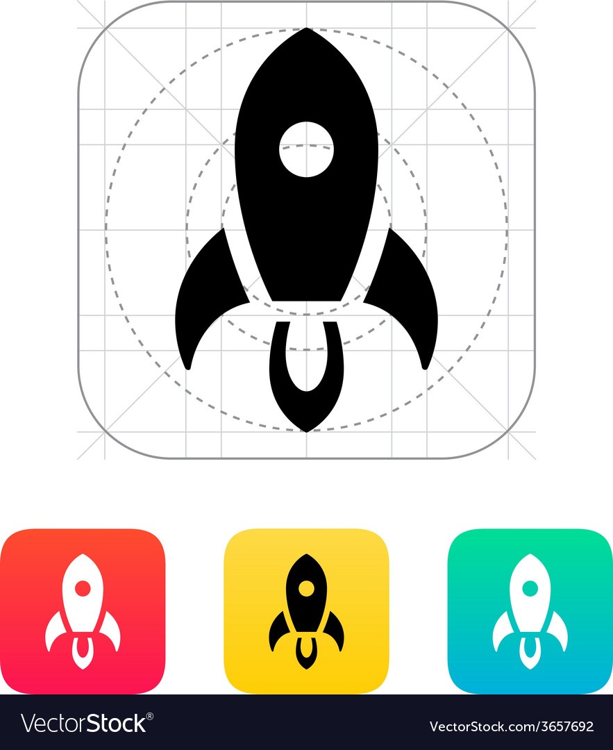 Rocket start icon on white background vector | Price: 1 Credit (USD $1)