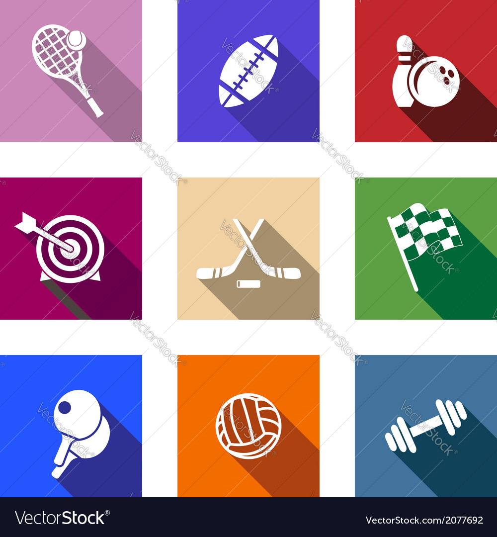 Set of flat sporting icons vector | Price: 1 Credit (USD $1)